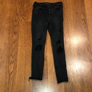 "Abercrombie ""Simone"" Black Distressed Skinny Jeans"